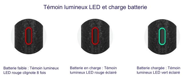 Témoins lumineux LED indiquant l'état de charge de la batterie du Ron Dry